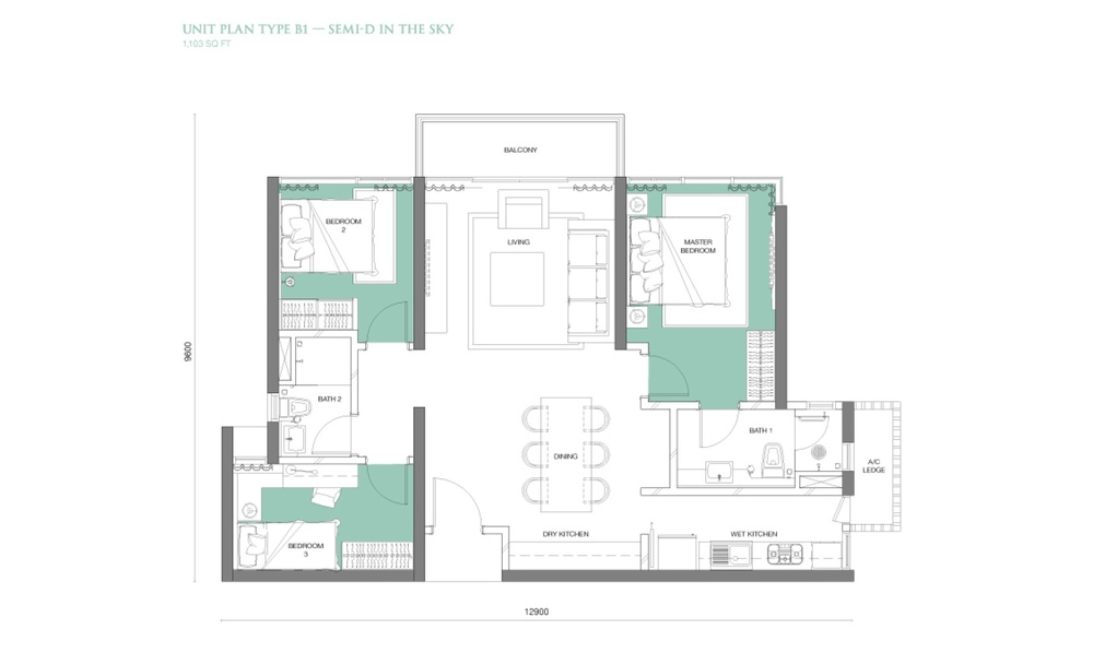 The Park Sky Residence @ Bukit Jalil City Type B1 Floor Plan