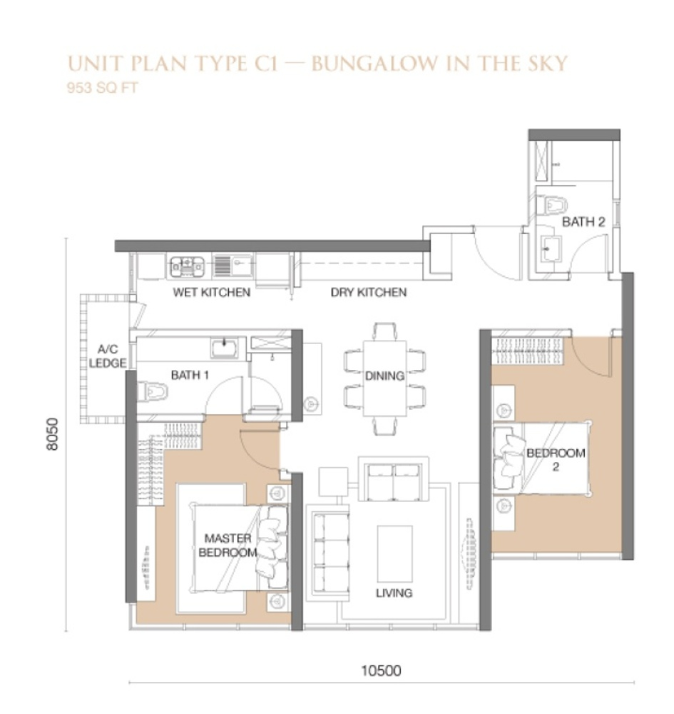 The Park Sky Residence @ Bukit Jalil City Type C1 Floor Plan