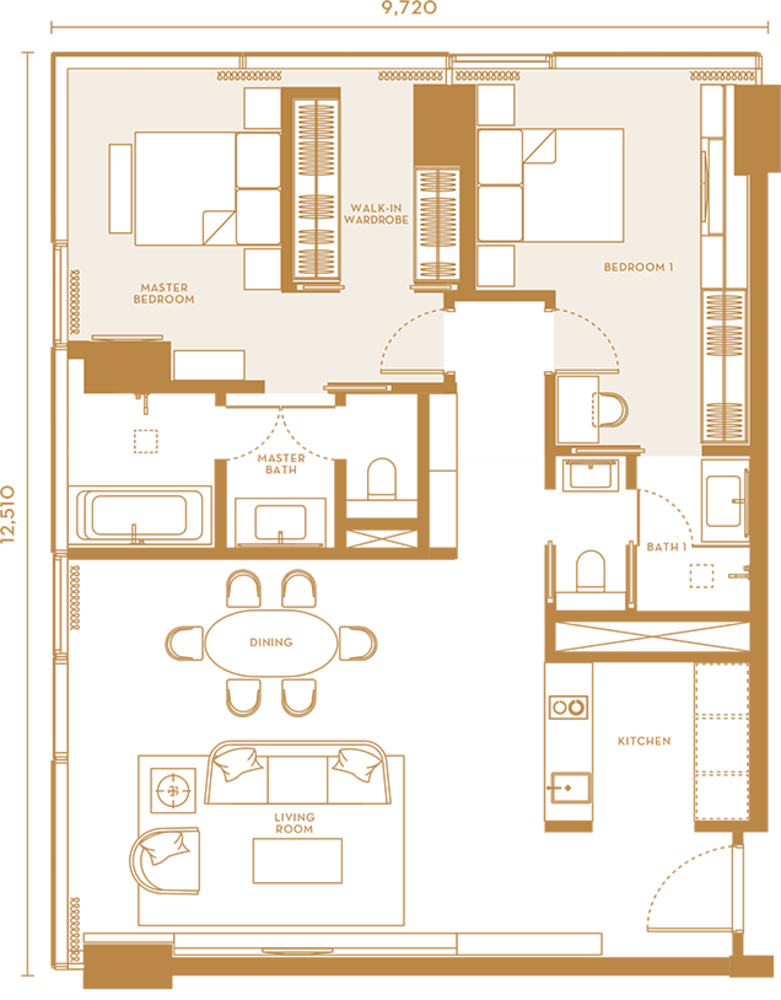 Pavilion Suites Type A  Floor Plan