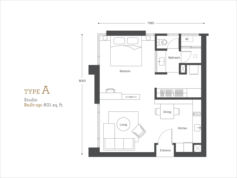 Cyperus Serviced Residence @ Tropicana Gardens Type A  Floor Plan