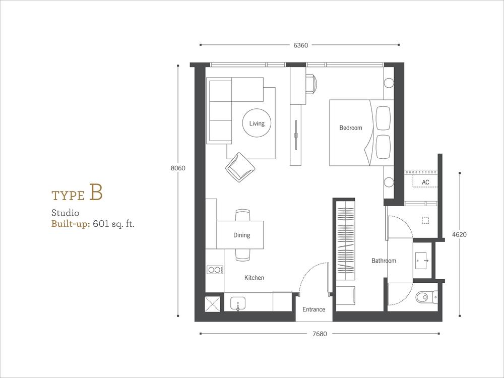 Cyperus Serviced Residence @ Tropicana Gardens Type B Floor Plan