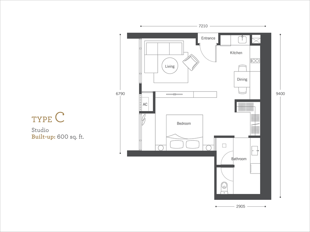 Cyperus Serviced Residence @ Tropicana Gardens Type C Floor Plan