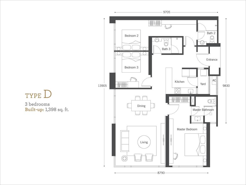 Cyperus Serviced Residence @ Tropicana Gardens Type D Floor Plan