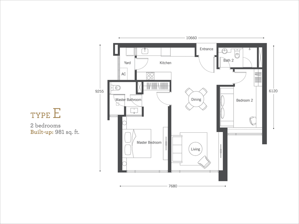 Cyperus Serviced Residence @ Tropicana Gardens Type E Floor Plan