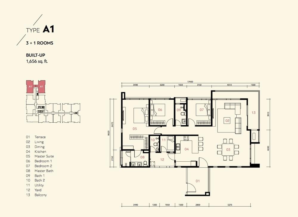 Prima Harmoni 2 @ Bukit Prima Pelangi Type A1 (Block A) Floor Plan