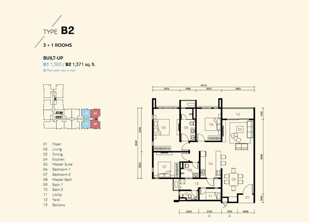 Prima Harmoni 2 @ Bukit Prima Pelangi Type B1 & B2 (Block A) Floor Plan