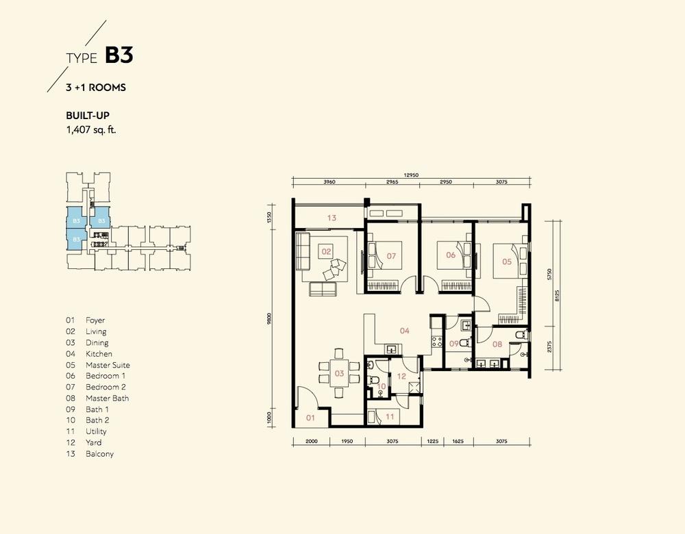 Prima Harmoni 2 @ Bukit Prima Pelangi Type B3 (Block A) Floor Plan