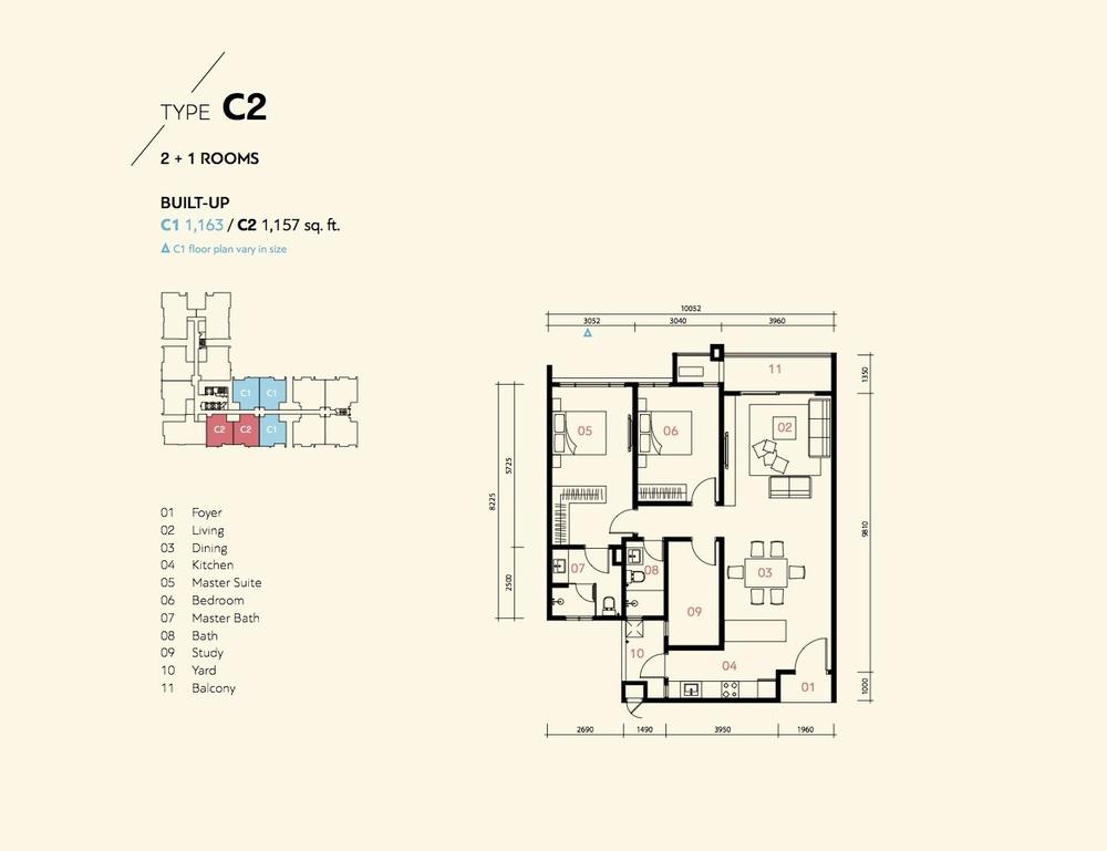 Prima Harmoni 2 @ Bukit Prima Pelangi Type C1 & C2 (Block A) Floor Plan