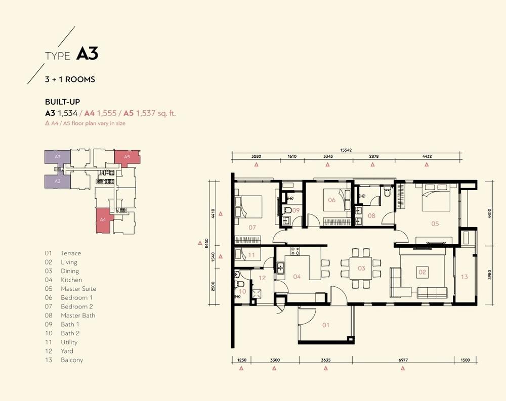 Prima Harmoni 2 @ Bukit Prima Pelangi Type A3, A4 & A5 (Block B) Floor Plan