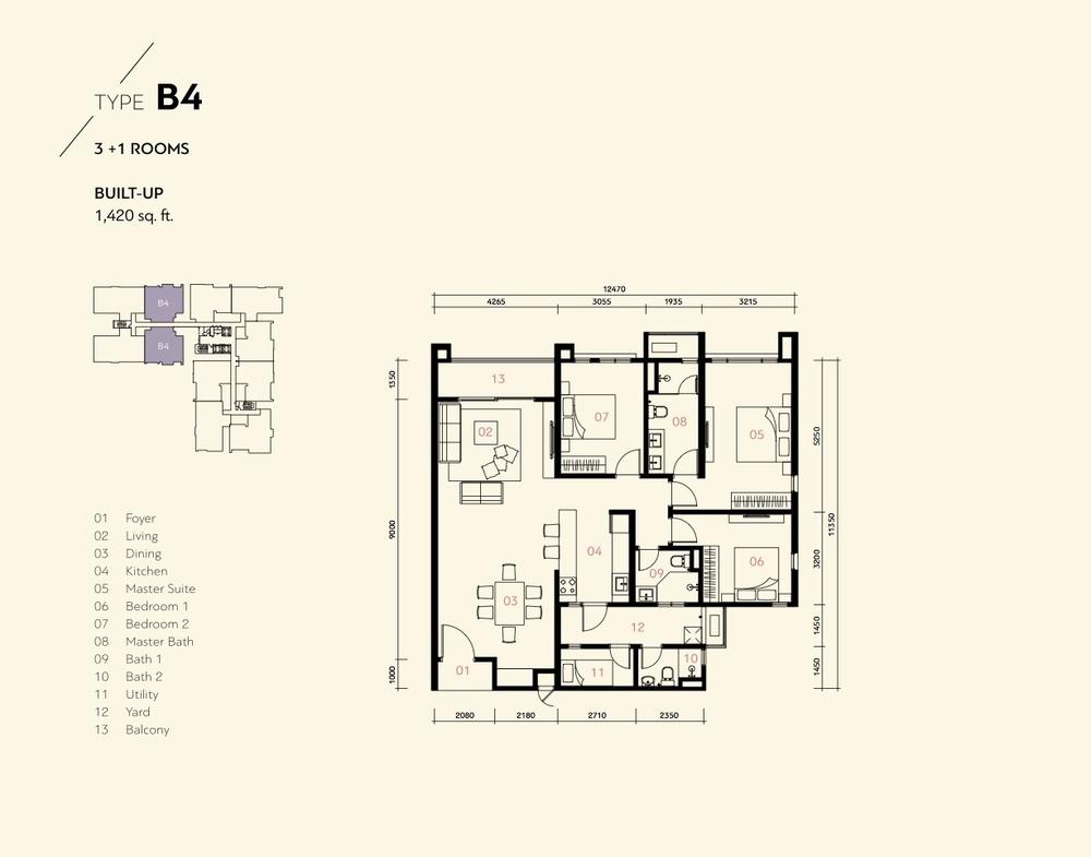 Prima Harmoni 2 @ Bukit Prima Pelangi Type B4 (Block B) Floor Plan