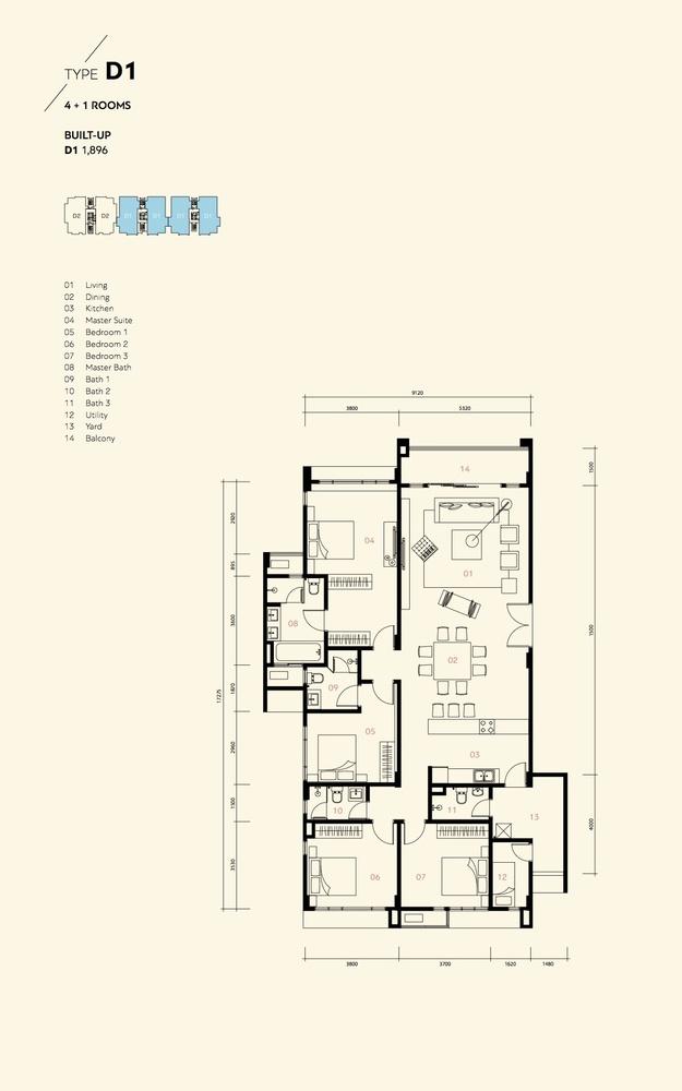 Prima Harmoni 2 @ Bukit Prima Pelangi Type D1 (Block C) Floor Plan
