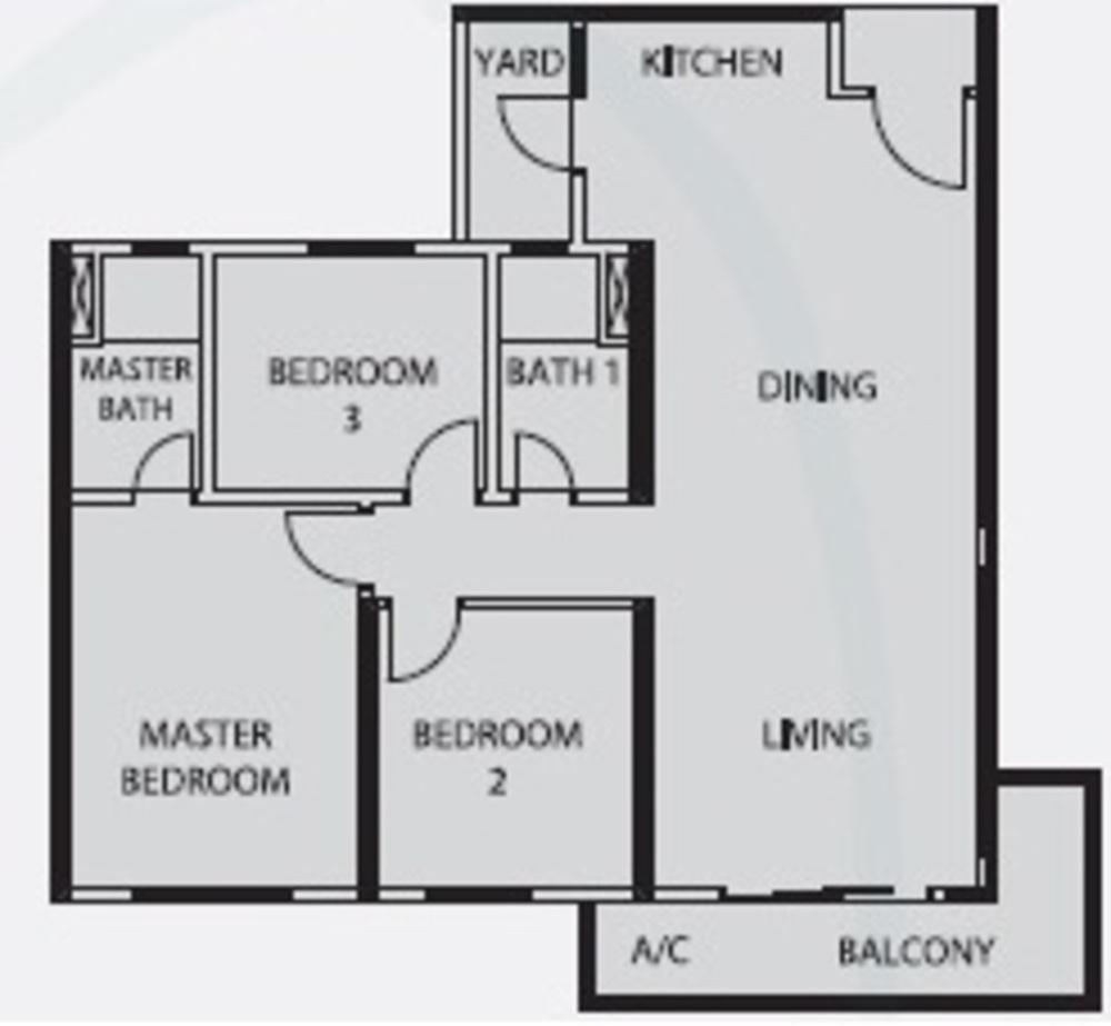 Mercury Serviced Apartment @ Sentul Village Type E Floor Plan