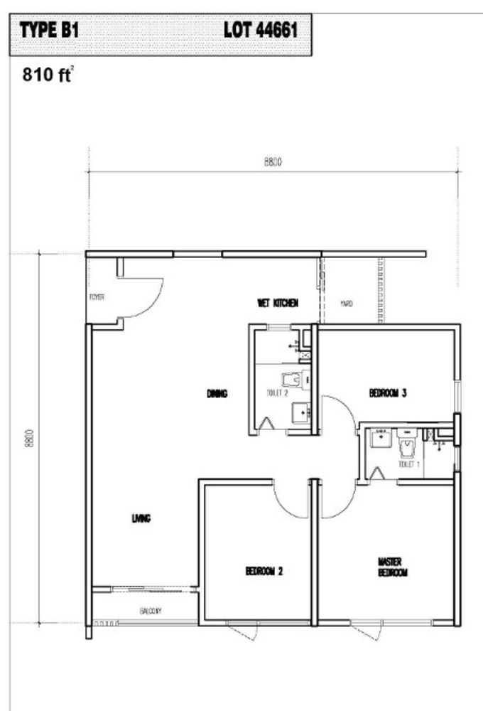 Vim 3 Type B1 Floor Plan