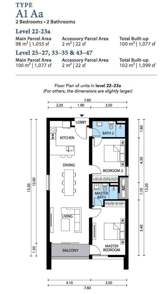The Westside Three Type A1 Aa Floor Plan