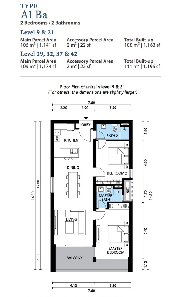 The Westside Three Type A1 Ba Floor Plan