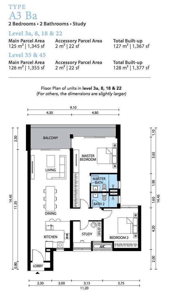 The Westside Three Type A3 Ba Floor Plan