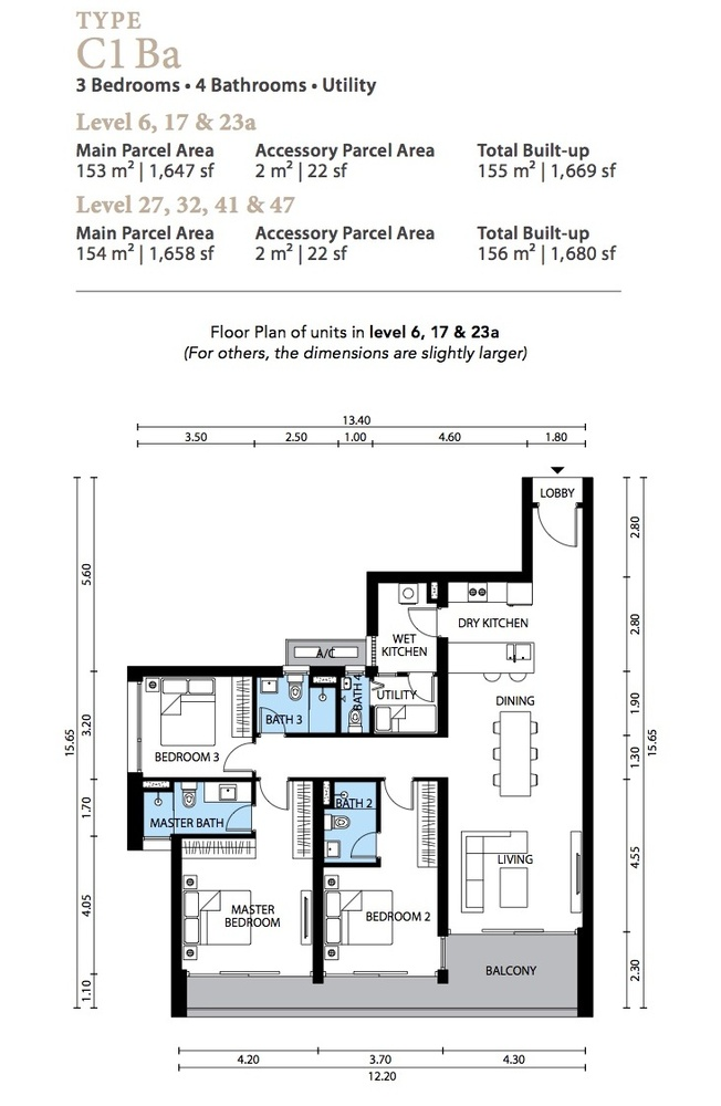 The Westside Three Type C1 Ba Floor Plan
