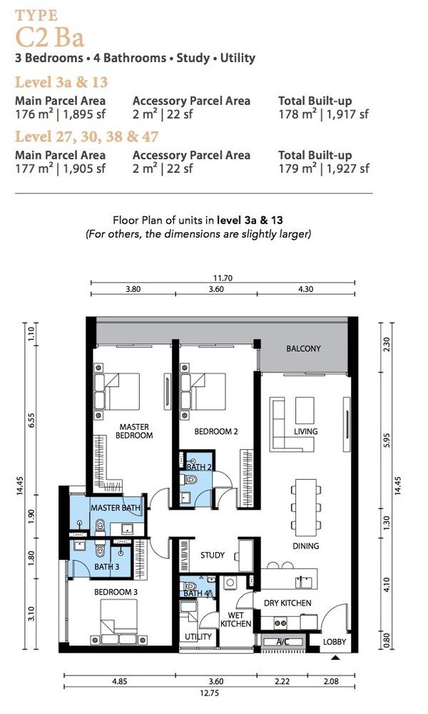 The Westside Three Type C2 Ba Floor Plan