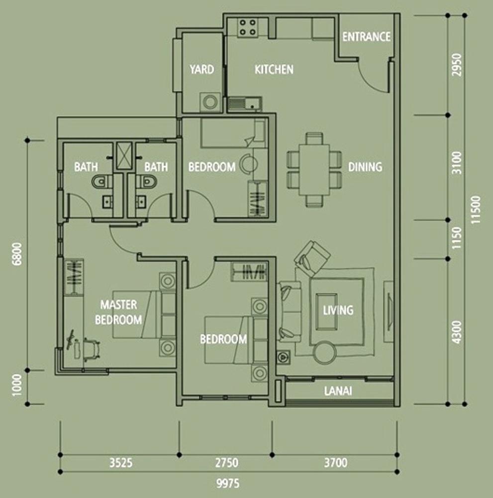 Midfields 2 Type B4 Floor Plan