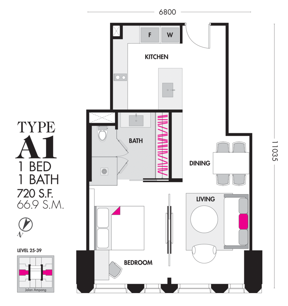 Tropicana The Residences Type A1 Floor Plan