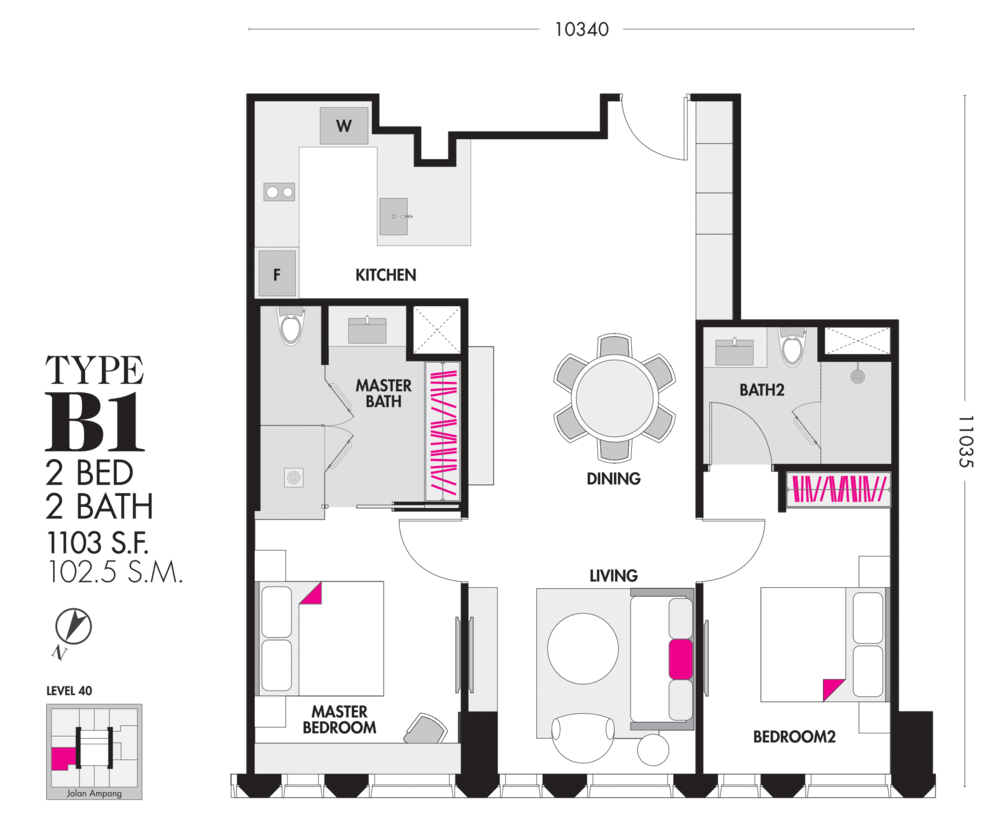 Tropicana The Residences Type B1 Floor Plan