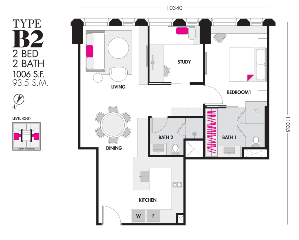 Tropicana The Residences Type B2 Floor Plan