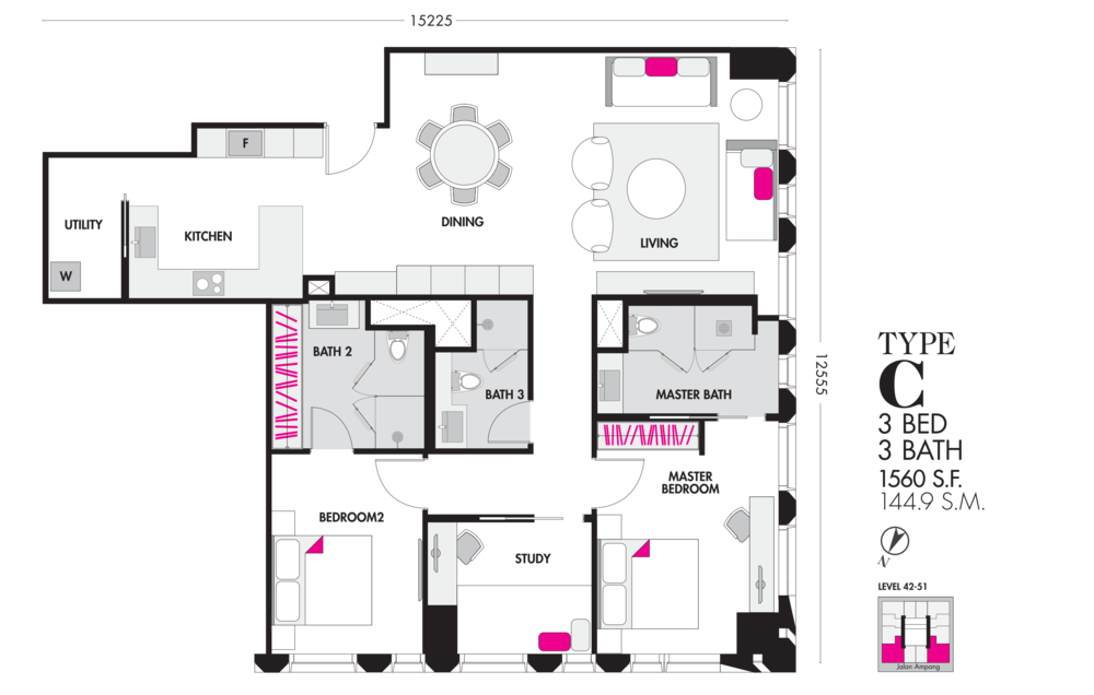 Tropicana The Residences Type C Floor Plan