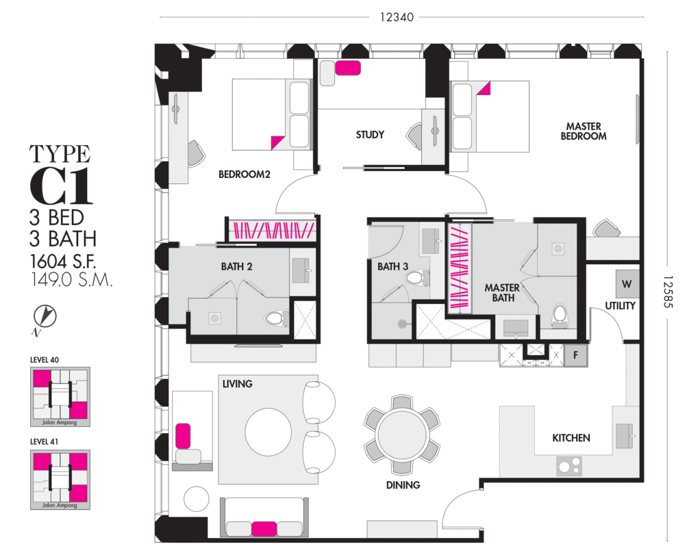 Tropicana The Residences Type C1 Floor Plan