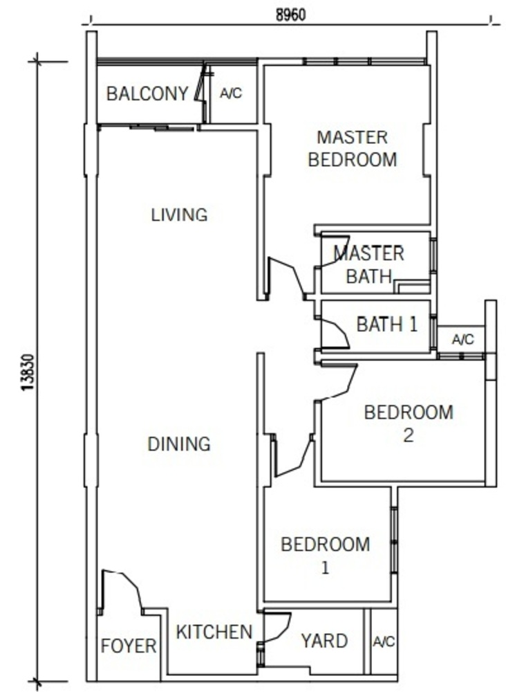 9INE Type A/A1 Floor Plan