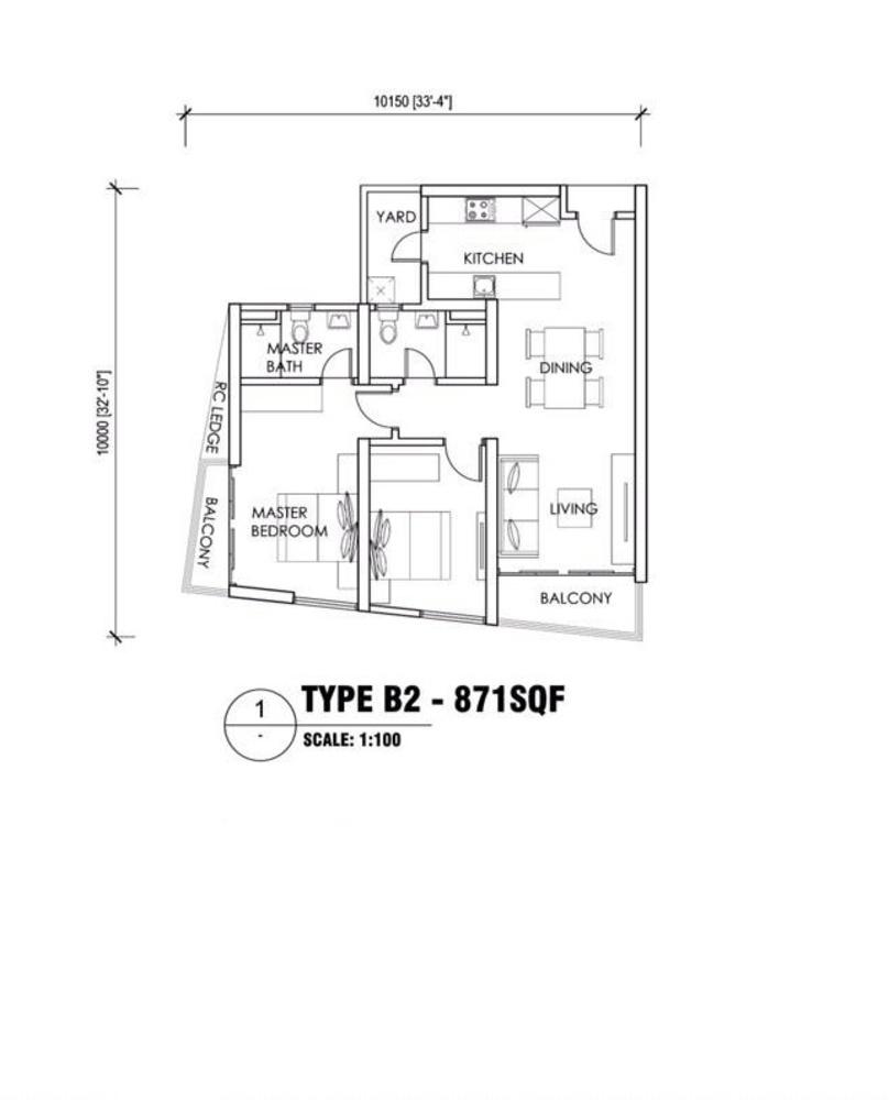 Reizz Residence Type B2 Floor Plan