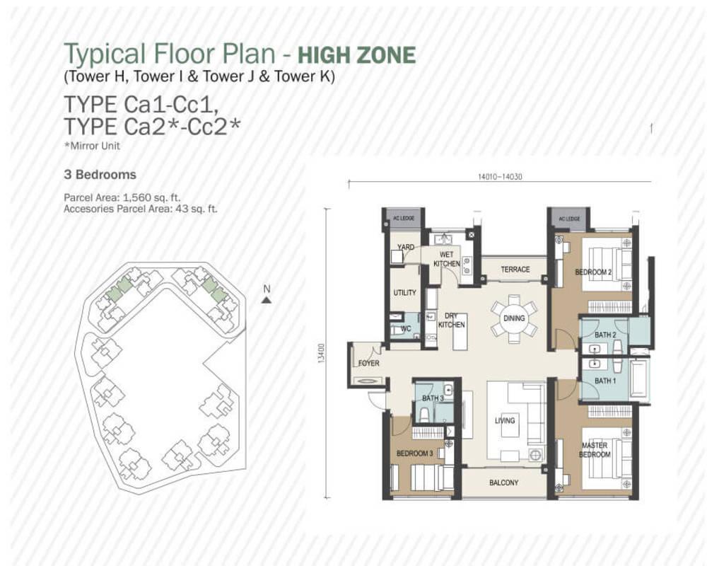 Agile Mont Kiara Type Ca1 - Cc1, Ca2 - Cc2 Floor Plan