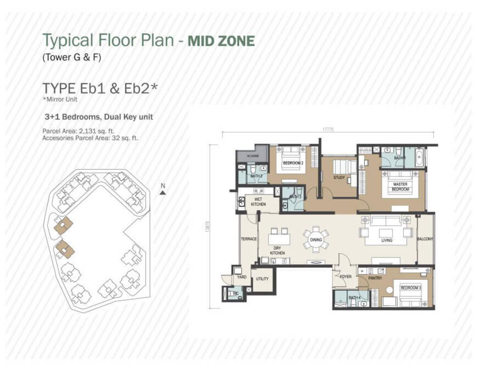 Agile Mont Kiara Type Eb1 & Eb2 Floor Plan