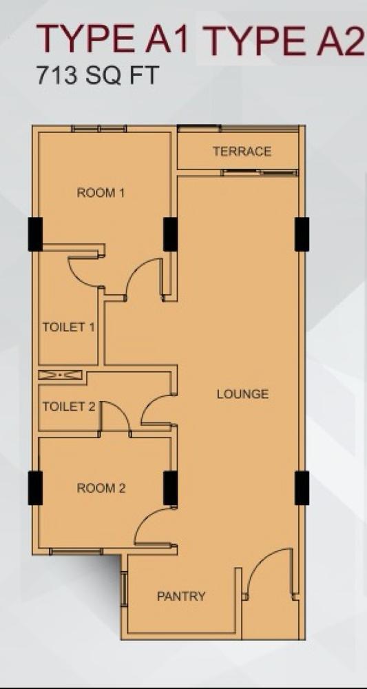 Suria @ North Kiara Type A1 & A2 Floor Plan