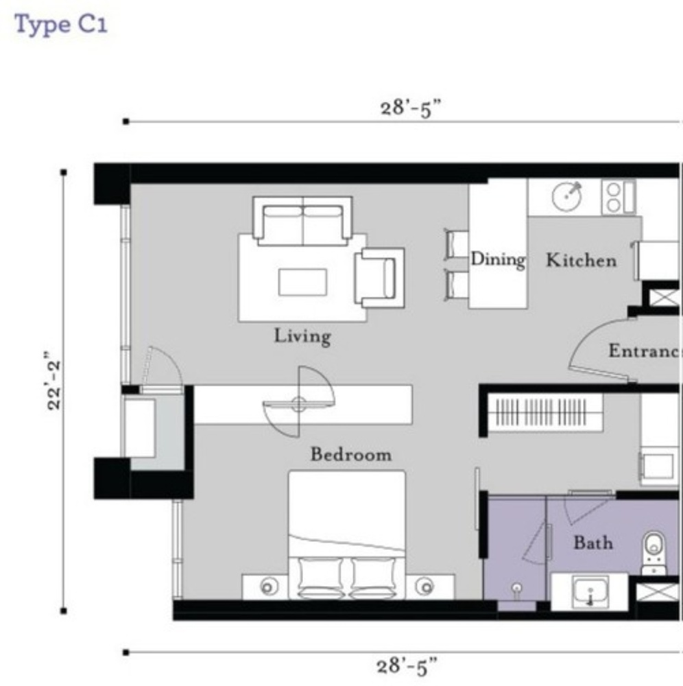 BayBerry Serviced Residence @ Tropicana Gardens Type C1 Floor Plan