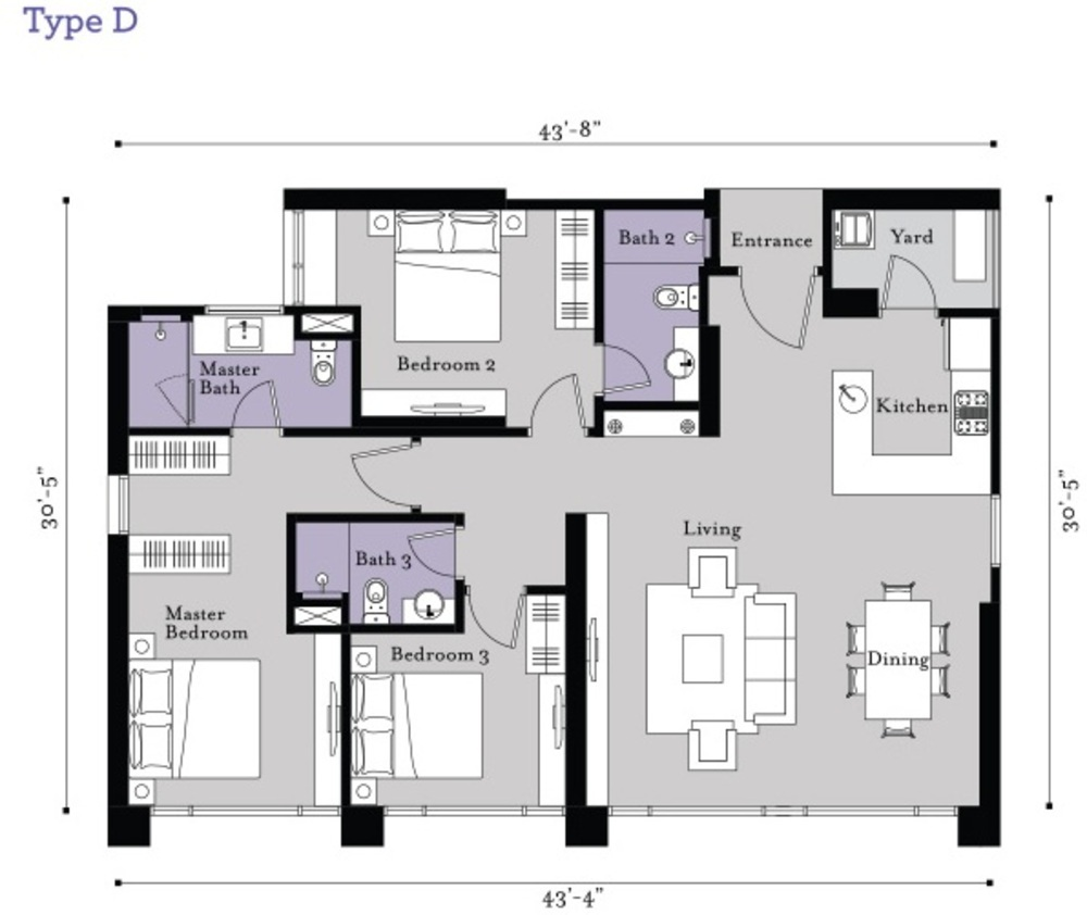 BayBerry Serviced Residence @ Tropicana Gardens Type D Floor Plan