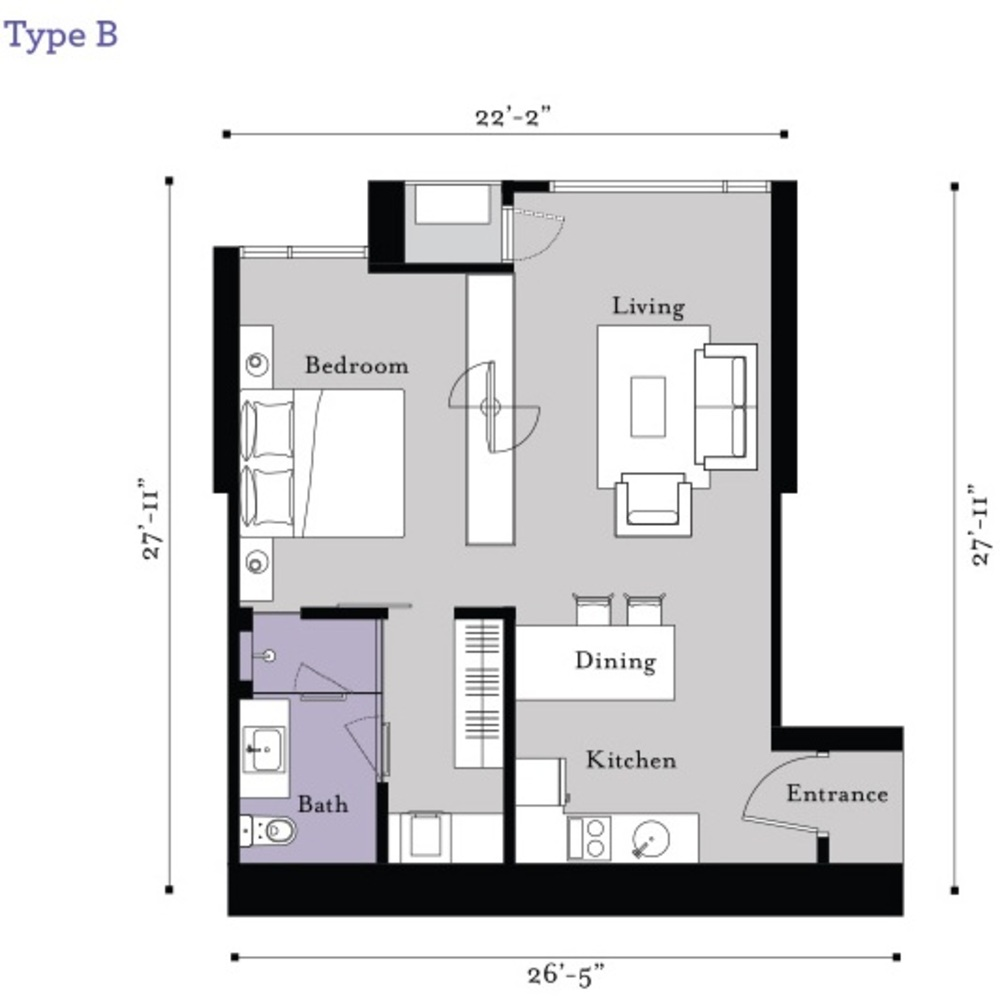 BayBerry Serviced Residence @ Tropicana Gardens Type B Floor Plan