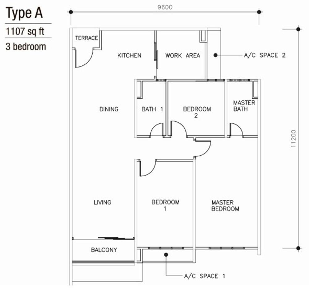 Mulberi Condominium Type A  Floor Plan