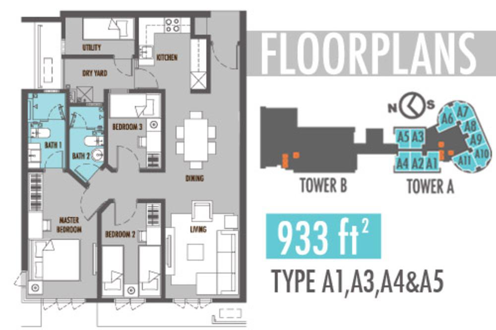 Tiara Mutiara 2 Type A1, A3, A4 & A5 Floor Plan