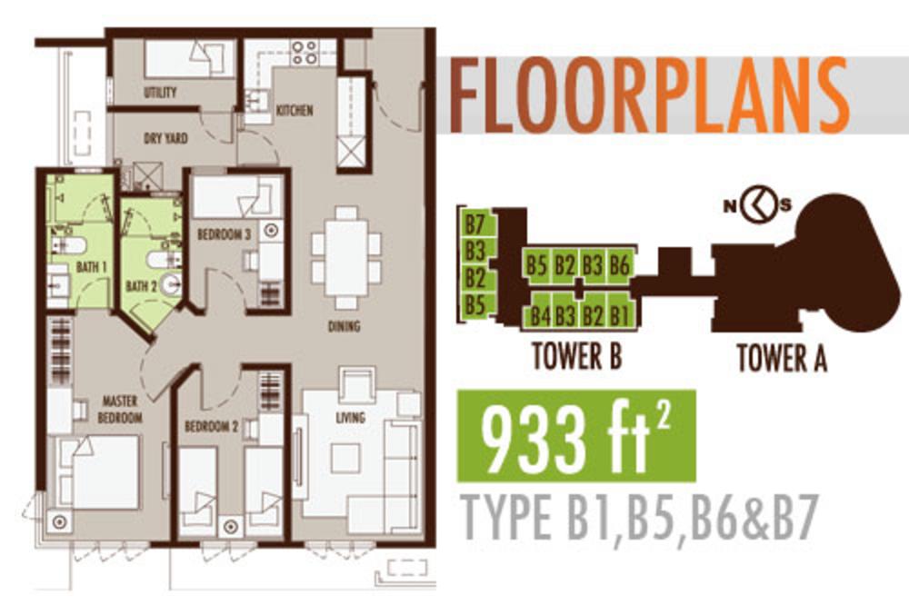 Tiara Mutiara 2 Type B1, B5, B6 & B7 Floor Plan