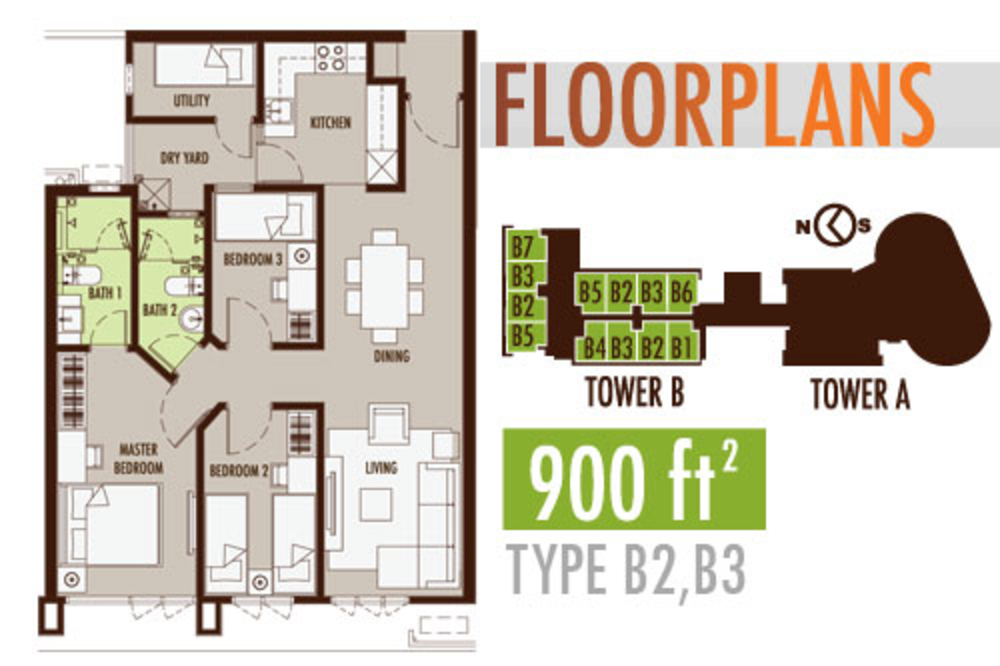 Tiara Mutiara 2 Type B2 & B3 Floor Plan