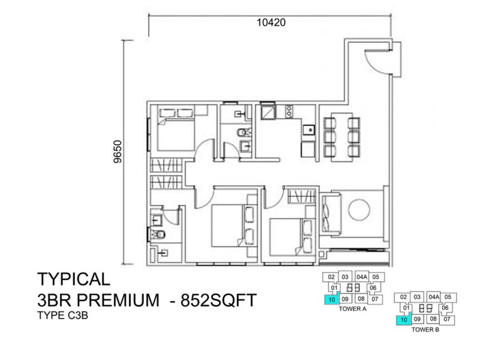 Lexa Residence @ The Quartz Type C3B Floor Plan