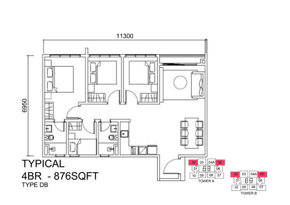 Lexa Residence @ The Quartz Type DB Floor Plan