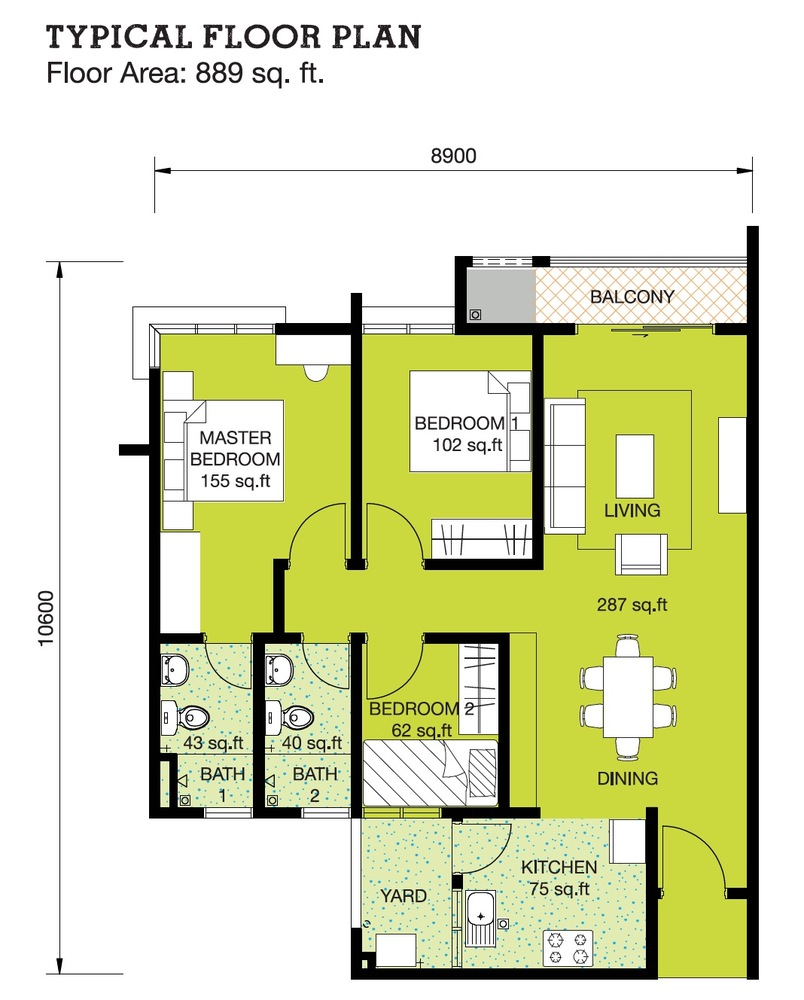 Danau Perintis Typical Unit Floor Plan