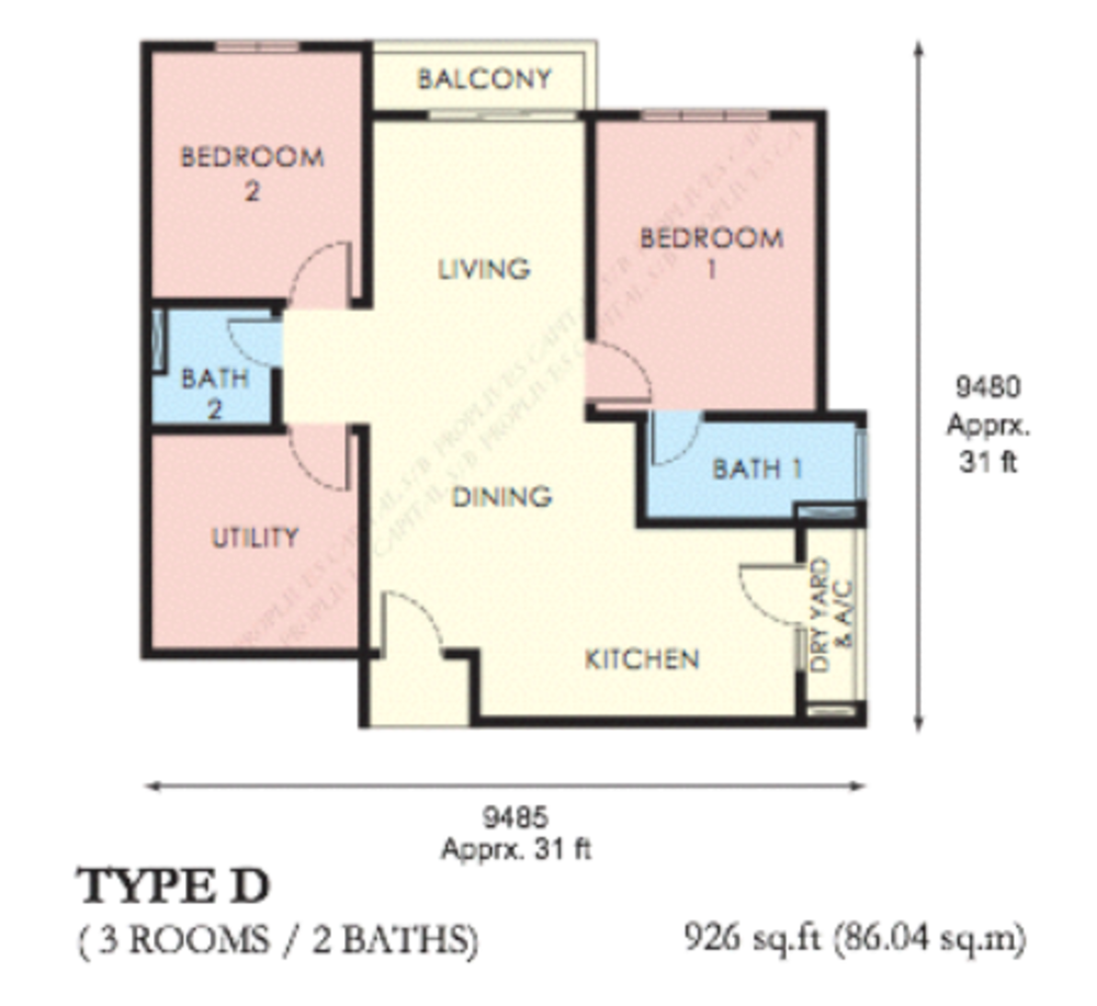 The Edge Residen Type D Floor Plan