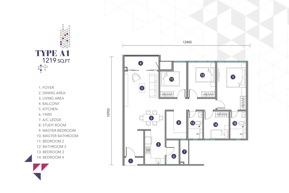 Nidoz Residences Type A1 Floor Plan