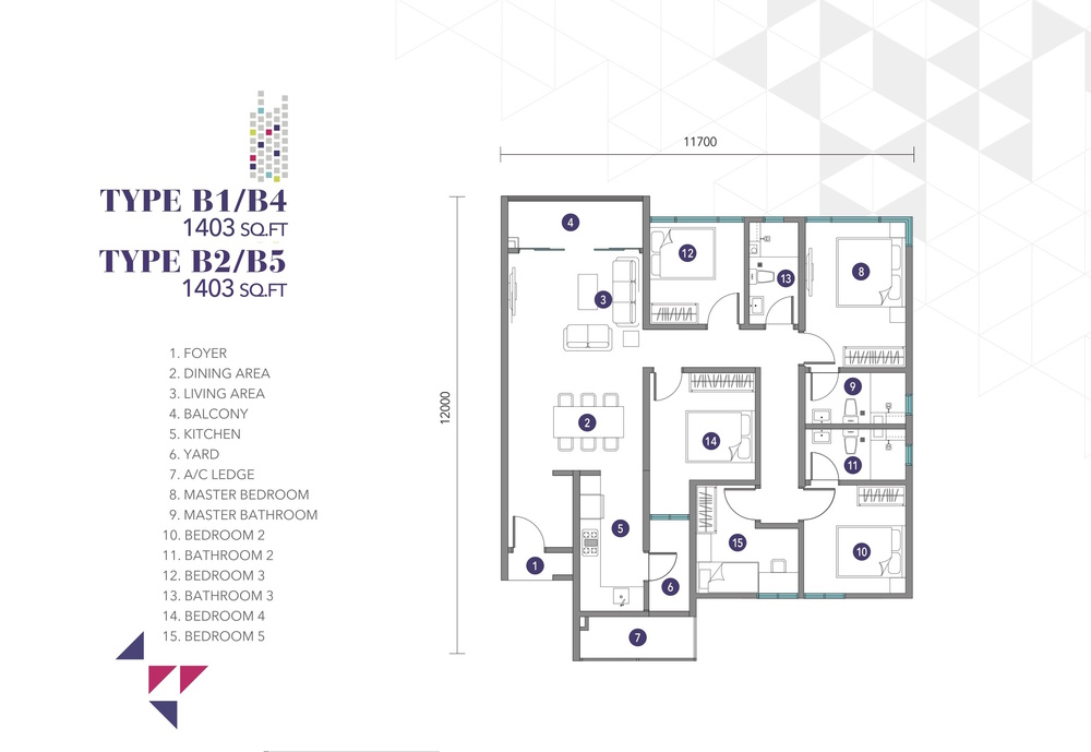Nidoz Residences Type B1, B2, B4, B5 Floor Plan