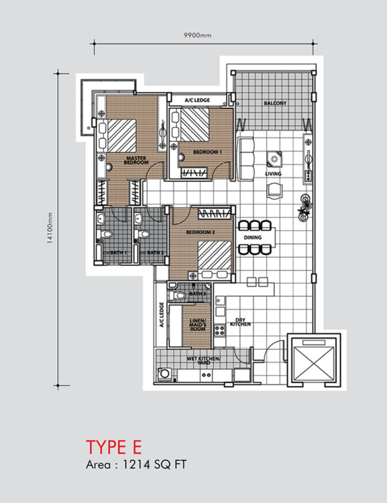 Putra 1 Apartment Type E (Block 1) Floor Plan