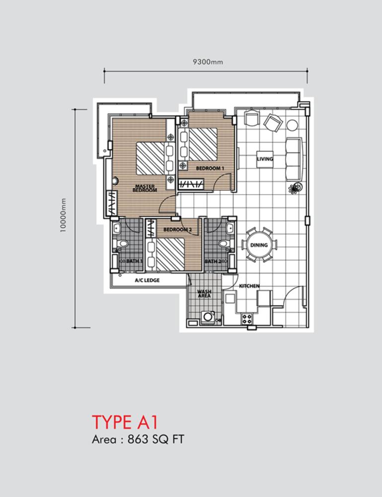 Putra 1 Apartment Type A1 (Block 2) Floor Plan