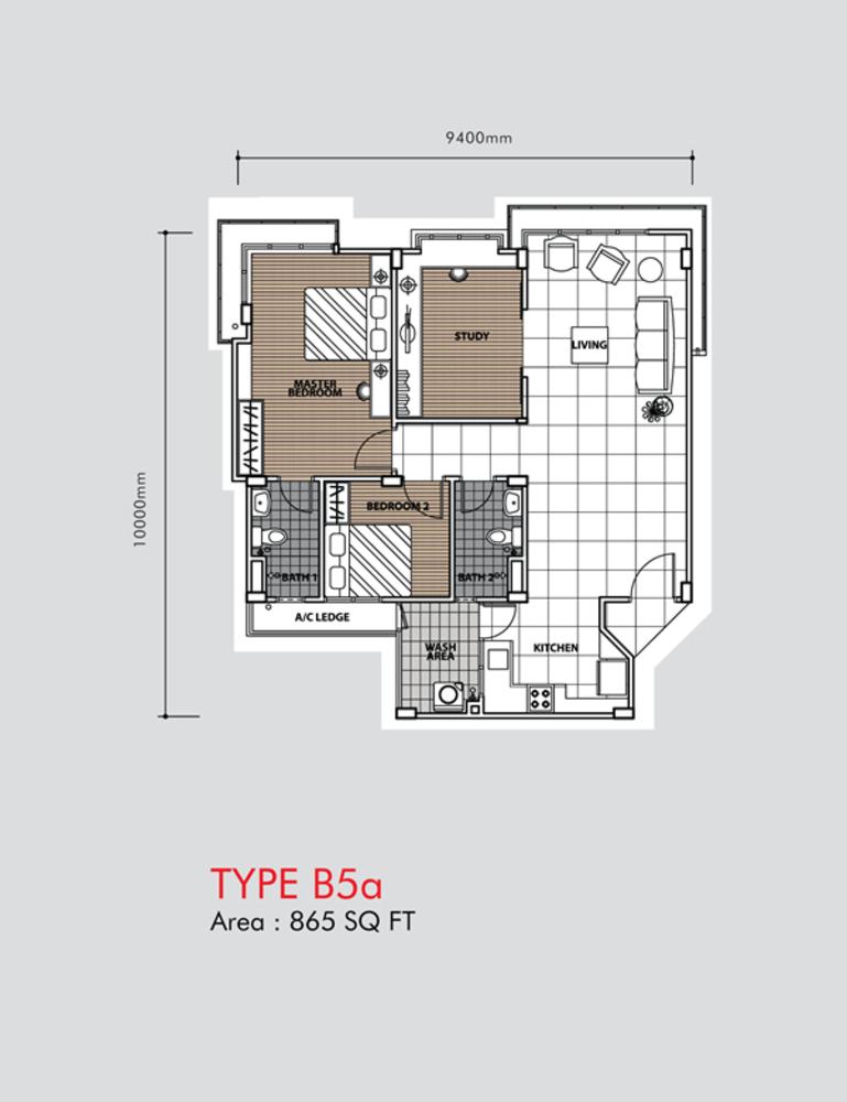 Putra 1 Apartment Type B5a (Block 2) Floor Plan
