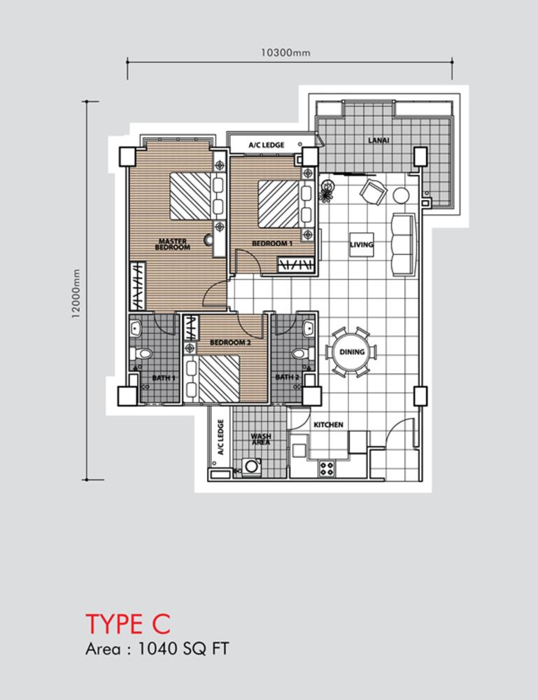 Putra 1 Apartment Type C (Block 3, 5 & 6) Floor Plan